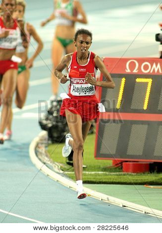 BARCELONA, SPAIN - JULY 28: Elvan Abeylegesse of Turkey competes on the Women 10000m final during the 20th European Athletics Championships at the Olympic Stadium on July 28, 2010 in Barcelona, Spain
