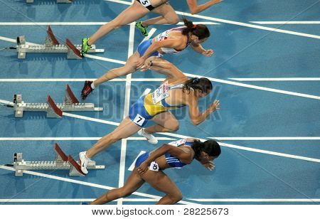 BARCELONA, SPAIN - JULY 29: Competitors of 100m Women during the 20th European Athletics Championships at the Stadium on July 29, 2010 in Barcelona, Spain