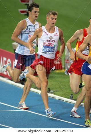 BARCELONA, SPAIN - JULY 29: Marcin Lewandowski of Poland during the Men 800m event during the 20th European Athletics Championships at the Olympic Stadium on July 29, 2010 in Barcelona, Spain