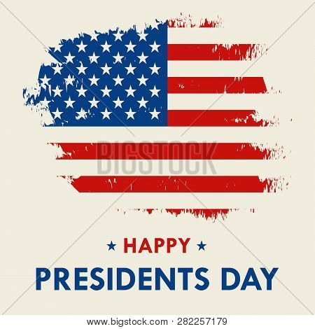 Happy Presidents Day Vector Illustration Hand Drawn Text Lettering For Presidents Day In Usa. Script