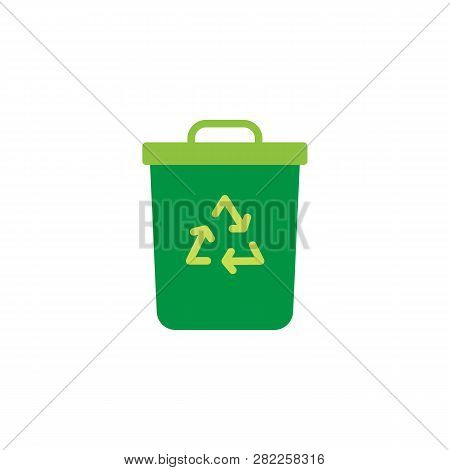Recycle Bin Flat Icon, Vector Sign, Colorful Pictogram Isolated On White. Trash Bin Symbol, Logo Ill