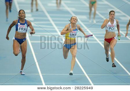 BARCELONA, SPAIN - AUGUST 01: Competitors of 4X100 Relay during the 20th European Athletics Championships at the Olympic Stadium on August 1, 2010 in Barcelona, Spain