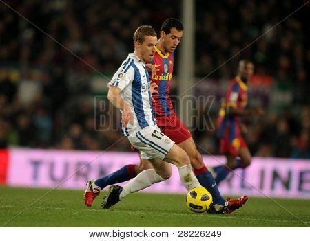 BARCELONA - DEC 12: David Zurutuza of Real Sociedad in action during a Spanish League match between FC Barcelona and Real Sociedad at the Nou Camp Stadium on December 12, 2010 in Barcelona, Spain