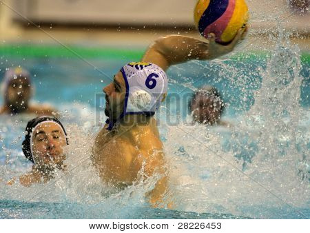BARCELONA - JAN 19: Marc Minguell of Atletic Barceloneta during a waterpolo euroleague match between Barceloneta and Primorje Rijeka at the Nova Escullera pool on January 19, 2011 in Barcelona, Spain