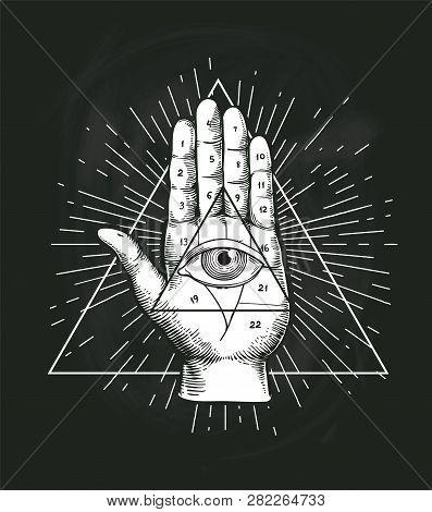 All Seeing Eye Triangle Geometric Vector Design. Providance Pyramid Tattoo Symbol With Occult Secret