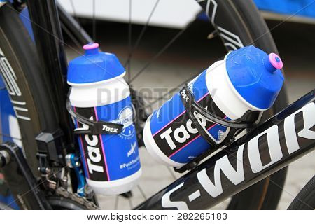 Ruzomberok, Slovakia - September 14, 2018: Julian Alaphilippe Bicycle Detail With Bidons Before Seco