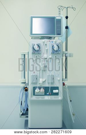 Dialysis Machines In Empty Hospital Room,hemodialysis Machine In An Hospital Ward,hemodialysis Machi
