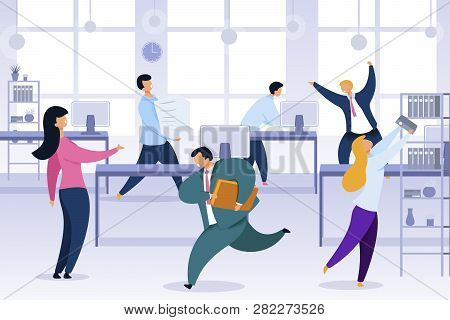 Work Rush, Office Chaos, Flat Vector Illustration. Busy, Stressed Office Workers Fussing Characters.