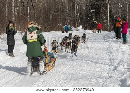 Duluth, Mn - January 27, 2019: Collen Wallin Passes By Spectators During The John Beargrease Sled Do