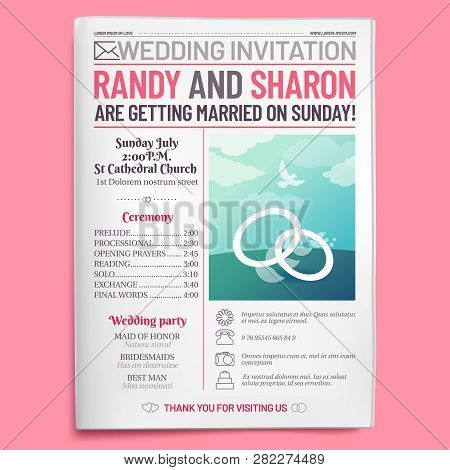 Wedding Invitation Tabloid. Newspaper Front Page, Getting Married Brochure And Old Love Journal Layo