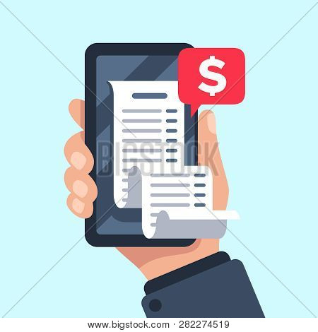 Smartphone Receipt Bill. Billing Check Online, Bills Checking And Paycheck Receipts Mobile Notificat