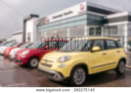 Kiev, Ukraine - September 11, 2018. Unclear Picture Of Fiat Cars Standing Outside Close To Dealer Bu