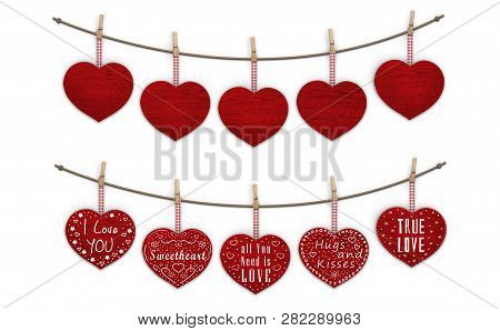 Cute Red Wooden Hearts Hanging On Clothes Pegs, Blank And Decorated With Text  I Love You, Isolated