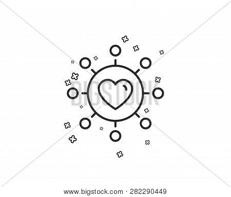 Love Dating Line Icon. Relationships Network Sign. Valentines Day Or Heart Symbol. Geometric Shapes.