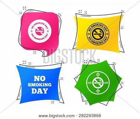No Smoking Day Icons. Against Cigarettes Signs. Quit Or Stop Smoking Symbols. Geometric Colorful Tag