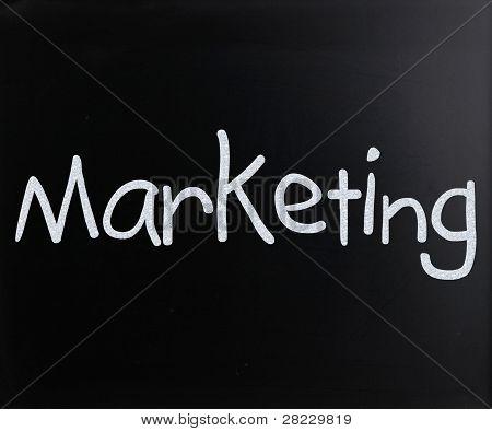 "The Word ""marketing"" Handwritten With White Chalk On A Blackboard"