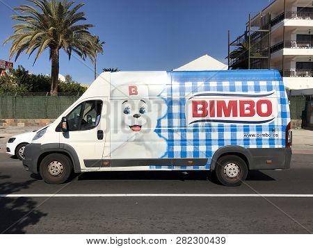 Maspalomas, Gran Canaria, Spain - January 4, 2019: Bimbo Delivery Van, And Unknown And Unrecognizabl