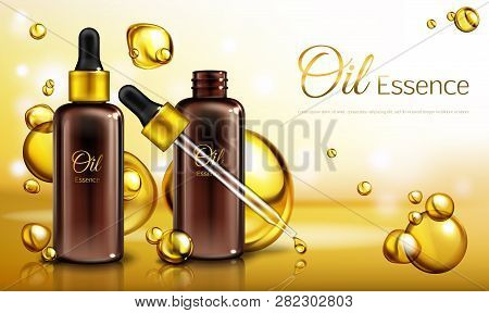 Vector 3d Realistic Ad Poster, Promo Banner With Oil Essence In Brown Glass Bottles With A Pipette.