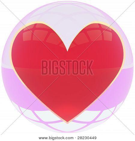 Heart in crystal ball