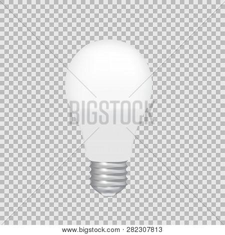 Realistic Vector Transparent Led Bulb. Light Effect Illustration.