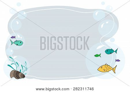 Frame For Text With Fish Cartoon. Childrens Frame For Text. Vector Baby Frame For Your Text. School