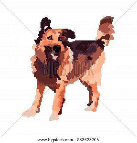 Pixel Dog. 8 Bit Art. Vector Illustration Happy Puppy.