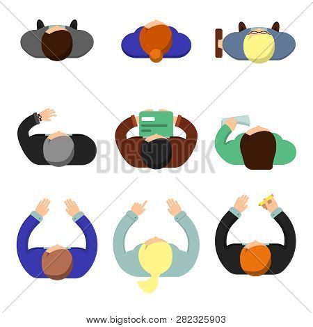 Office People Top View. Working Managers Women And Men Sitting At The Table Lifestyle Vector Flat Ch