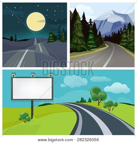 Road To City. Highway And Different Types Of Urban Road Over Hills Vector Weather Landscape. Illustr