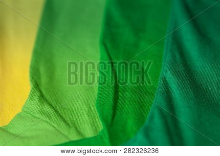 Close Up Green Tee Shirts With Colorful Tee Shirt. Colorful Of 100 Percent Cotton Tee Shirts In Tee
