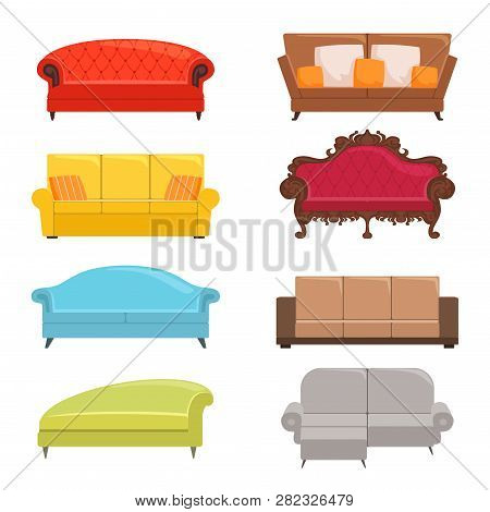 Sofa Collection. Bed Classic Divan Modern Coach Vector Interior Furniture. Illustration Of Colored D