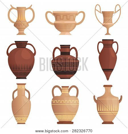 Clay Jug. Ancient Amphora With Pattern Greek Cup And Other Vessel Vector Cartoon Pictures Isolated.