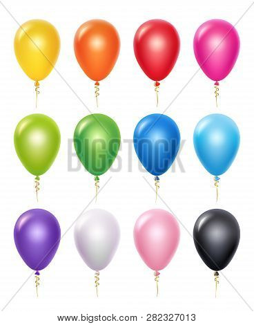 Colored Balloon. Birthday Party Decoration Vector 3d Realistic Balloons. Illustration Of Realistic A