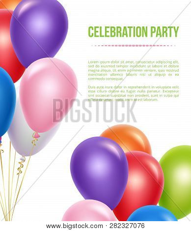 Advertizing Poster With Balloons. Transparent Colored Flying Helium Balloons For Surprise Birthday P