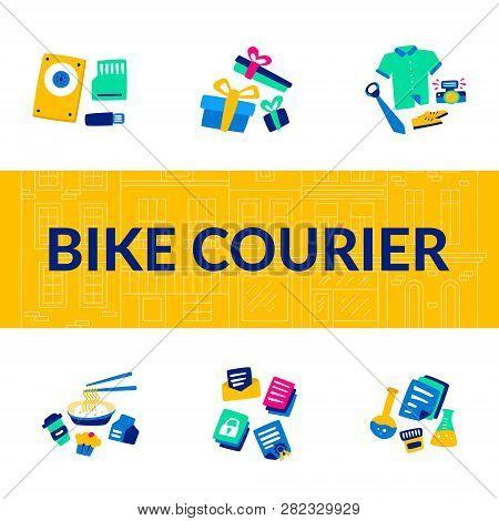 Bike Courier. Bicycle Lifestyle. Biking Service. Transportation Digital Files Flash Drives Or Hard D