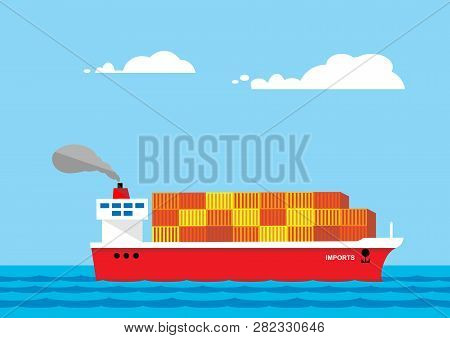 A metaphor on import and export imbalance. A vector illustration of a fully loaded container ship to illustrate an imbalance in import and export markets. poster
