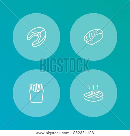 Set Of 4 Dish Icons Line Style Set. Collection Of Beefsteak, Seafood, Potato And Other Elements.