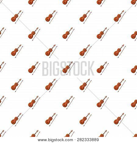 Violin With Fiddlestick Pattern Seamless Repeat In Cartoon Style Illustration