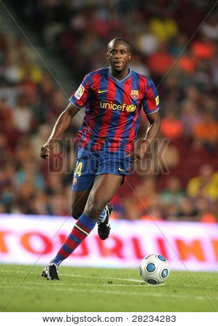 BARCELONA, SPAIN - AUG. 23: Futbol Club Barcelona player Toure Yaya during Spanish Supercup match between Barcelona vs Athletic Bilbao at the New Camp Stadium in Barcelona on August 23, 2009.