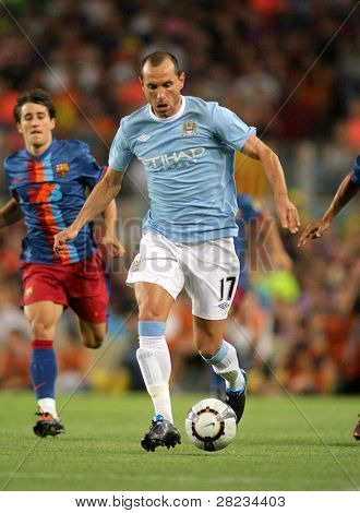 BARCELONA, SPAIN - AUG. 19: Manchester City Bulgarian Martin Petrov during the match Trophy Joan Gamper between Barcelona and Manchester City at Nou Camp Stadium in Barcelona, Spain. August 19, 2009.