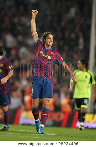 BARCELONA - OCTOBER 25: Swedish Zlatan Ibrahimovic of Barcelona celebrates goal during Spanish league match, Barcelona vs Zaragoza at the New Camp Stadium on October 25, 2009 in Barcelona, Spain.