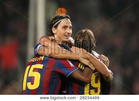 BARCELONA - OCTOBER 25: Swedish Zlatan Ibrahimovic of Barcelona celebrating goal during Spanish league match, Barcelona vs Zaragoza at the New Camp Stadium on October 25, 2009 in Barcelona, Spain.