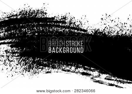 Vector Hand Drawn Big Brush Stain. Monochrome Ink Painted Stroke. Painted By Brush Black Stain. Mono