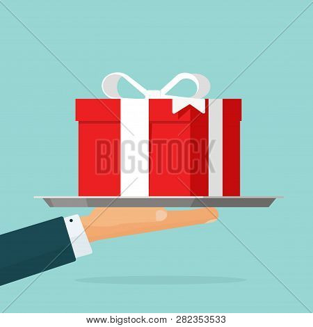 Gift Giving Vector Illustration, Flat Cartoon Person Hand Offering Red Gift Box Present Isolated Cli