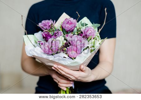 Florist Woman Holding A Beautiful Colourful Blossoming Flower Bouquet Of Fresh White Pink Tulips, Ra