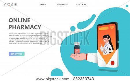Online Drugstore Healthcare Pharmacy Concept. Internet Drugstore. Medical Diagnosis In Hospital. Wom