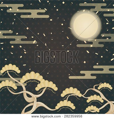 Japanese Gold Geometric Background With Pine Tree, Moon, And Confetti