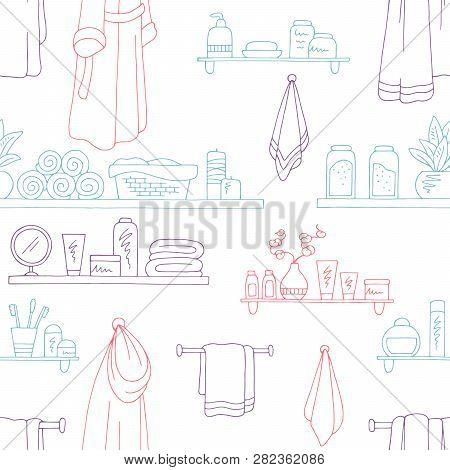 Shelves Graphic Bathroom Color Seamless Pattern Sketch Background Illustration Vector