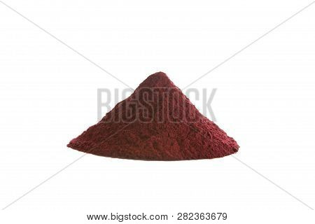 Hibiscus Flower Powder Isolated On White. It Is High In Antioxidants And Amino Acids And It Is Used
