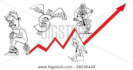 Outlined Businessmen and Statistics Arrow