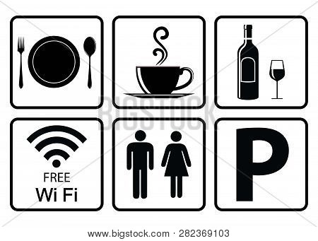 Useful Icon For Restaurant-coffee Icon,alcohol Allowed Sign,free Wifi Sign,washroom Sign,vehicle Par